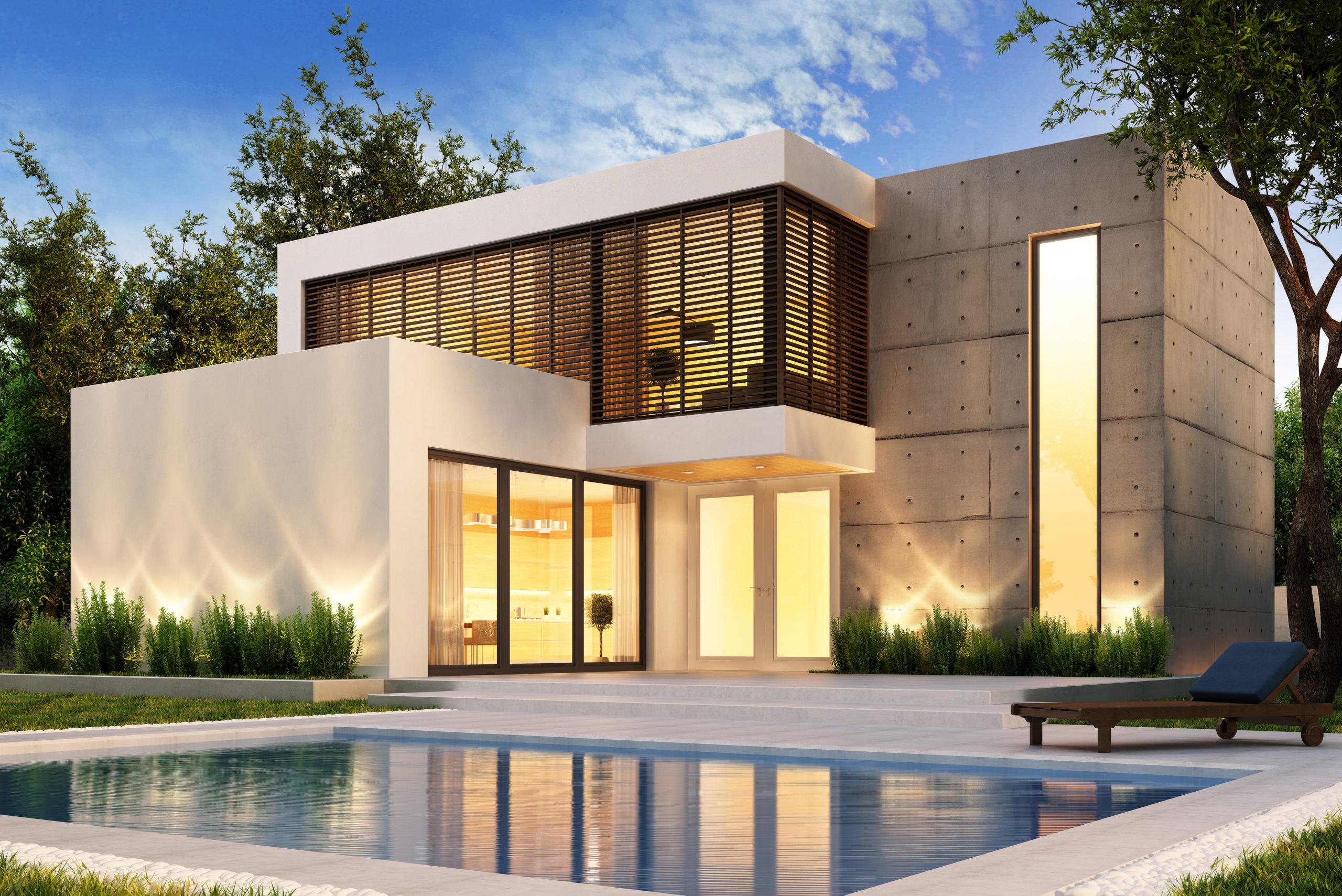 villa cubique blanche avec piscine