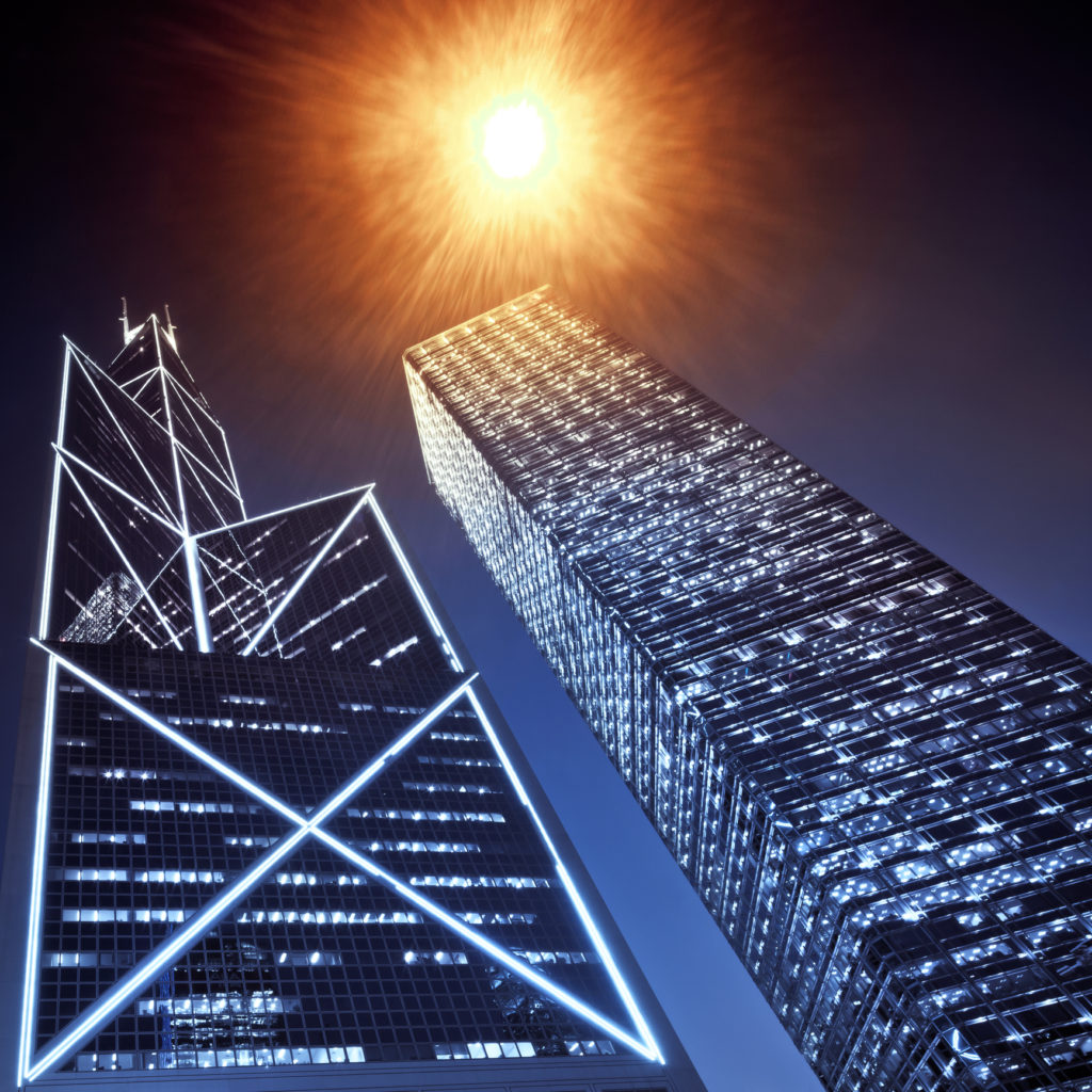 """Business towers with street lamp in Hong Kong, China"""